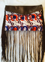 Nassara Design Clutch with Fringe Brown and Purple