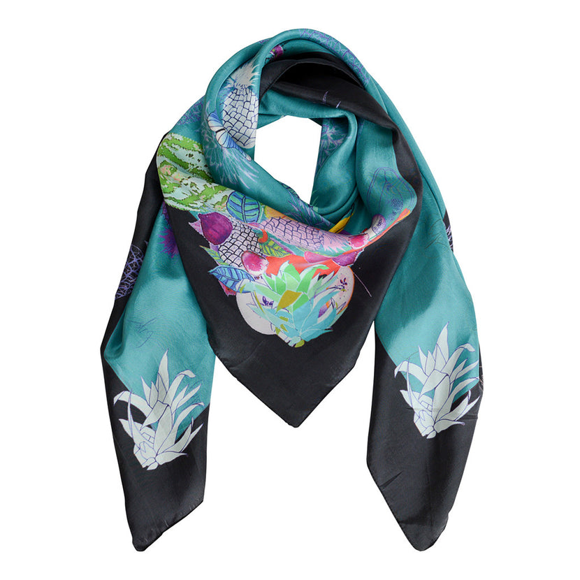 SBG COLLECTION Scarf Pineapple Silk Petrol Black