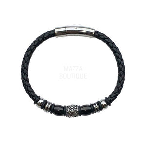 BLACK BEAD SILVER LEATHER bracelet
