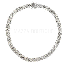 Load image into Gallery viewer, CUBAN CRYSTAL SILVER 10MM necklace