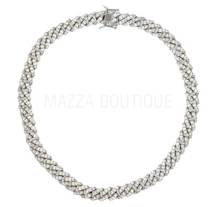 CUBAN CRYSTAL SILVER 10MM necklace