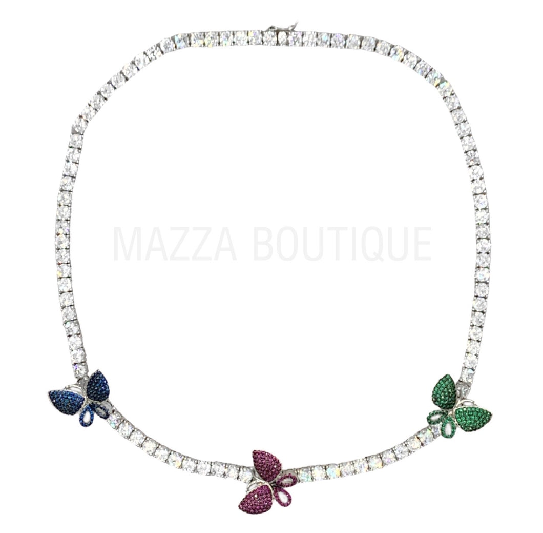 BUTTERFLY MULTICOLOR TENNIS necklace