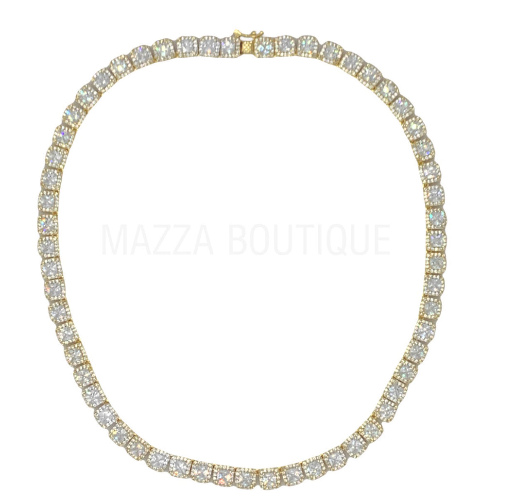 CUSHION CUT HALO GOLD CRYSTAL necklace