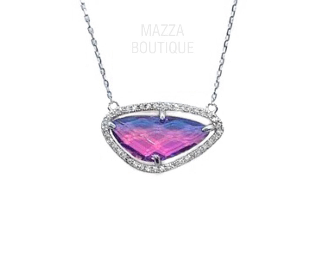 PINK BLUE GLASS necklace