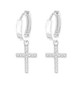 CROSS HUGGIE HOOP earrings