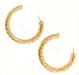 VINTAGE ROPE THICK GF HOOP earrings