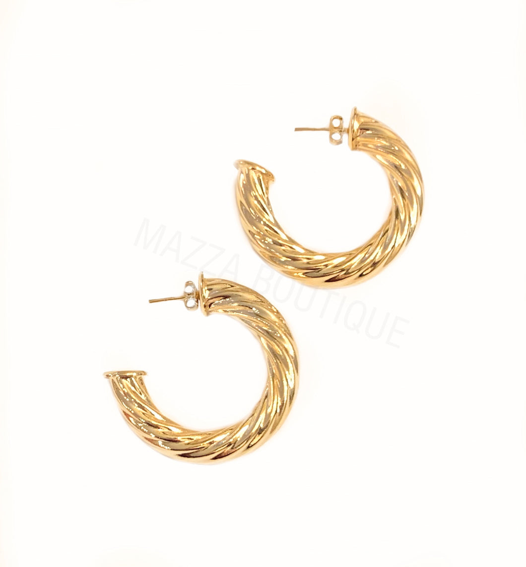 VINTAGE ROPE MINI GF HOOP earrings
