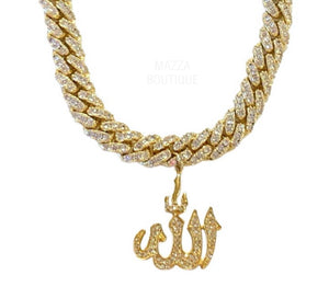 CUSTOM CRYSTAL ALLAH GOLD necklace