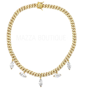 CUBAN MARQUIS CUT GOLD necklace