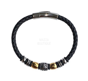 GOLD BEAD LEATHER bracelet