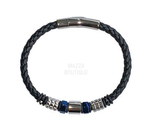 BLUE BEAD LEATHER bracelet