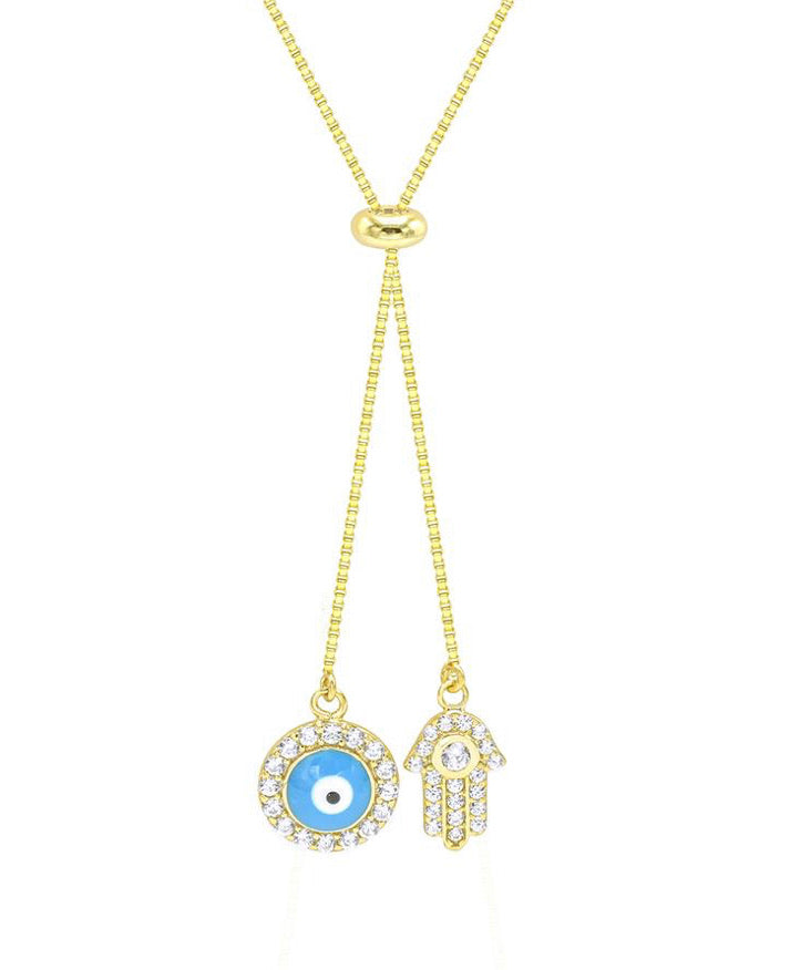 HAMSA EVIL EYE ADJUSTABLE necklace