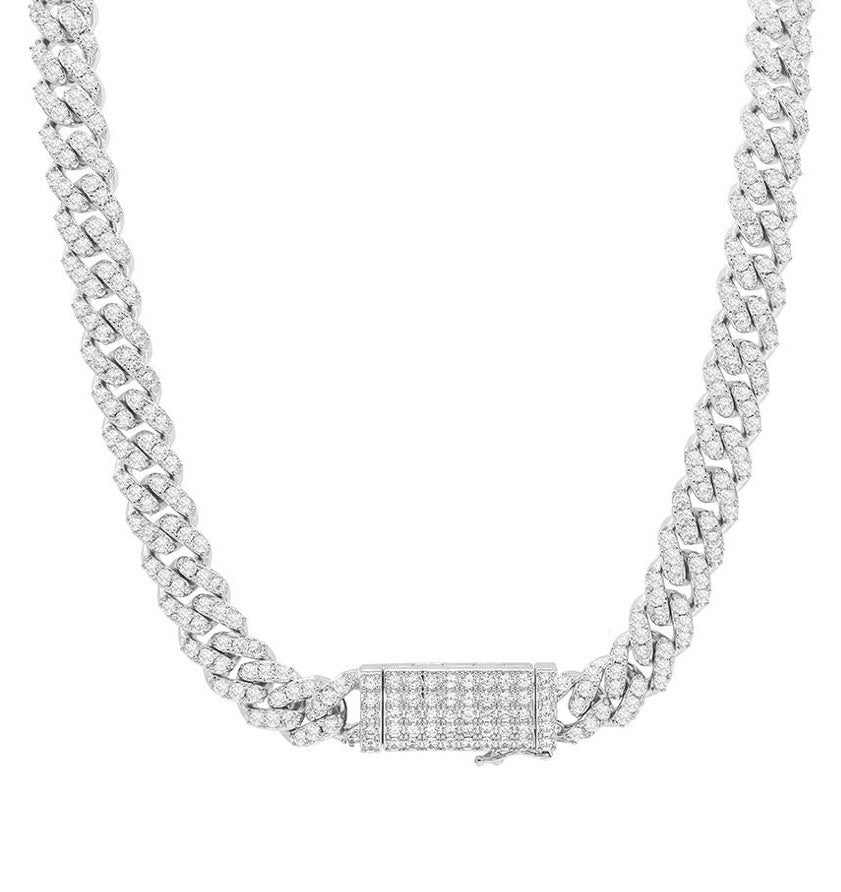 CUBAN LOCK SILVER necklace