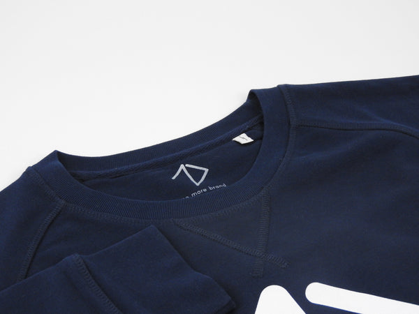 Brand tag details of navy sweatshirt with One More Brand logo for men