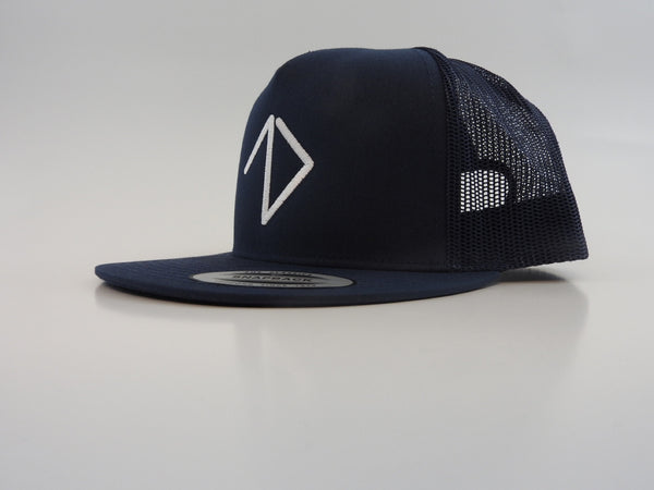 Front of a navy classic trucker snapback with One More Brand logo