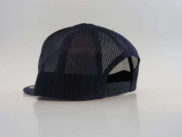 Back of a navy classic trucker snapback with One More Brand logo