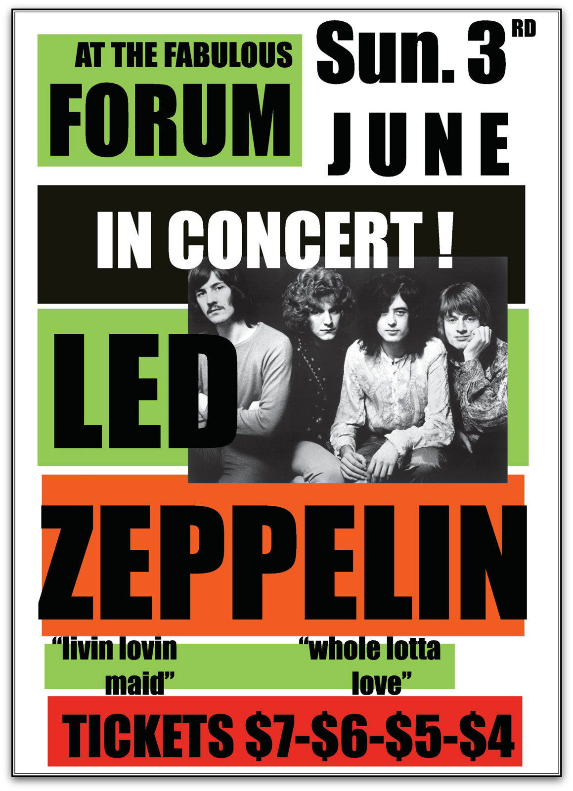 Led Zeppelin, The Forum 1973 Band Poster