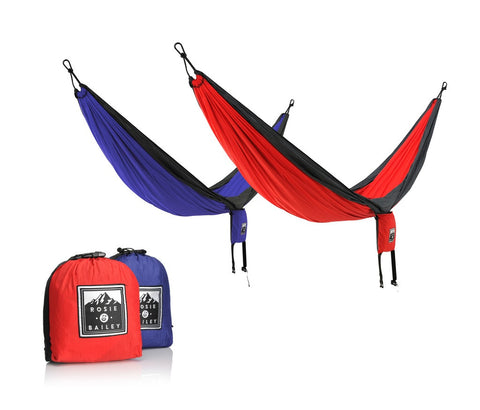Rosie & Bailey Ultra Lightweight Hammock - Durable, Compact, Affordable (INCLUDES TREE STRAPS) - Rosie & Bailey