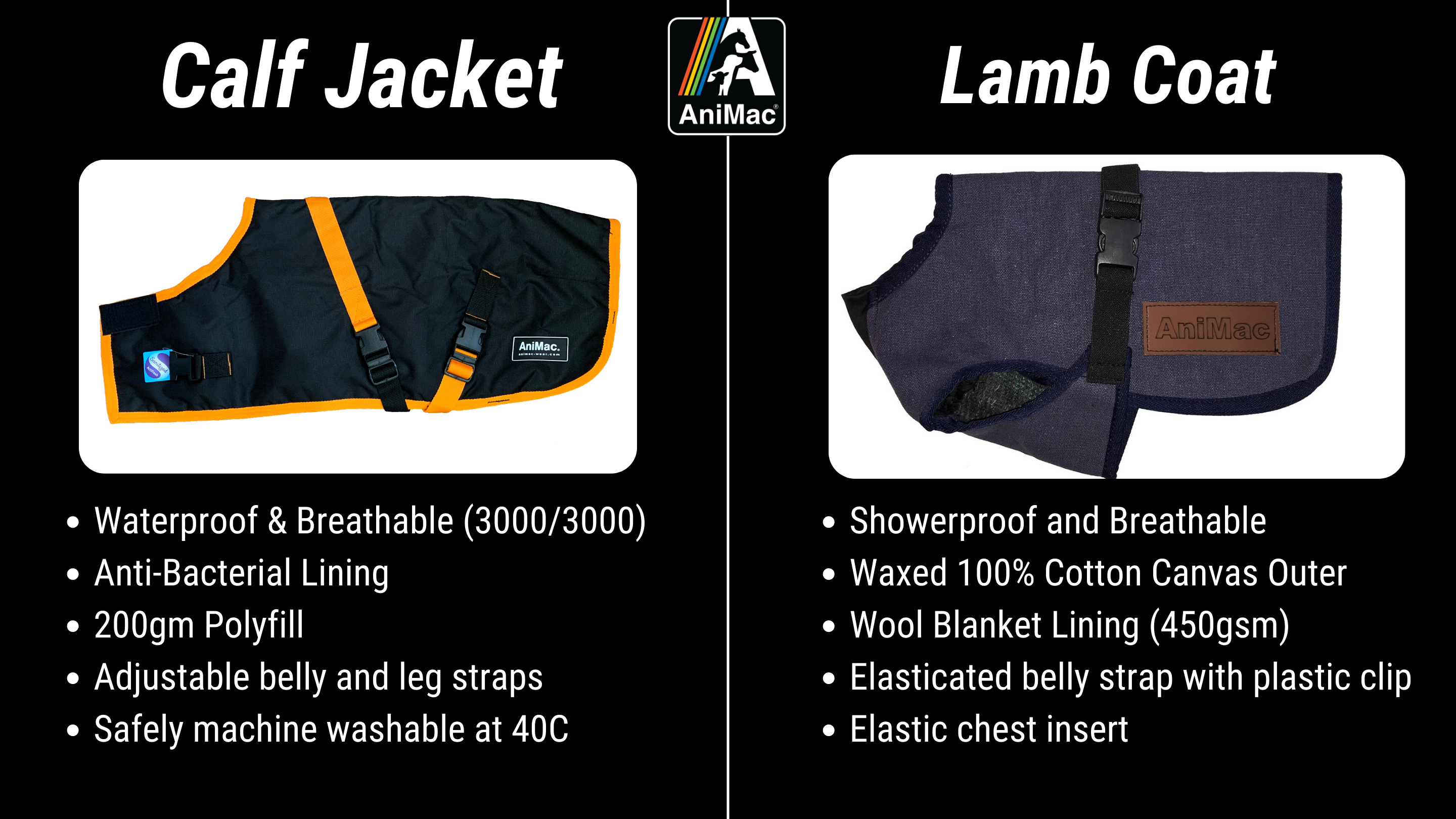 AniMac waterproof calf jacket for goat coat and lamb jacket for kids