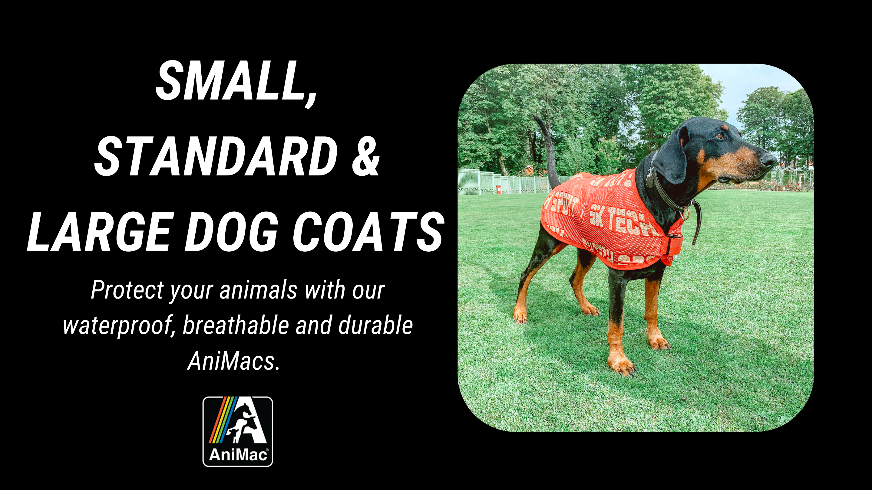 AniMac waterproof dog coats for small, medium and large dogs