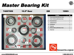 "Master Bearing Kit GM 10.5"" 14 Bolt Rear Axle"