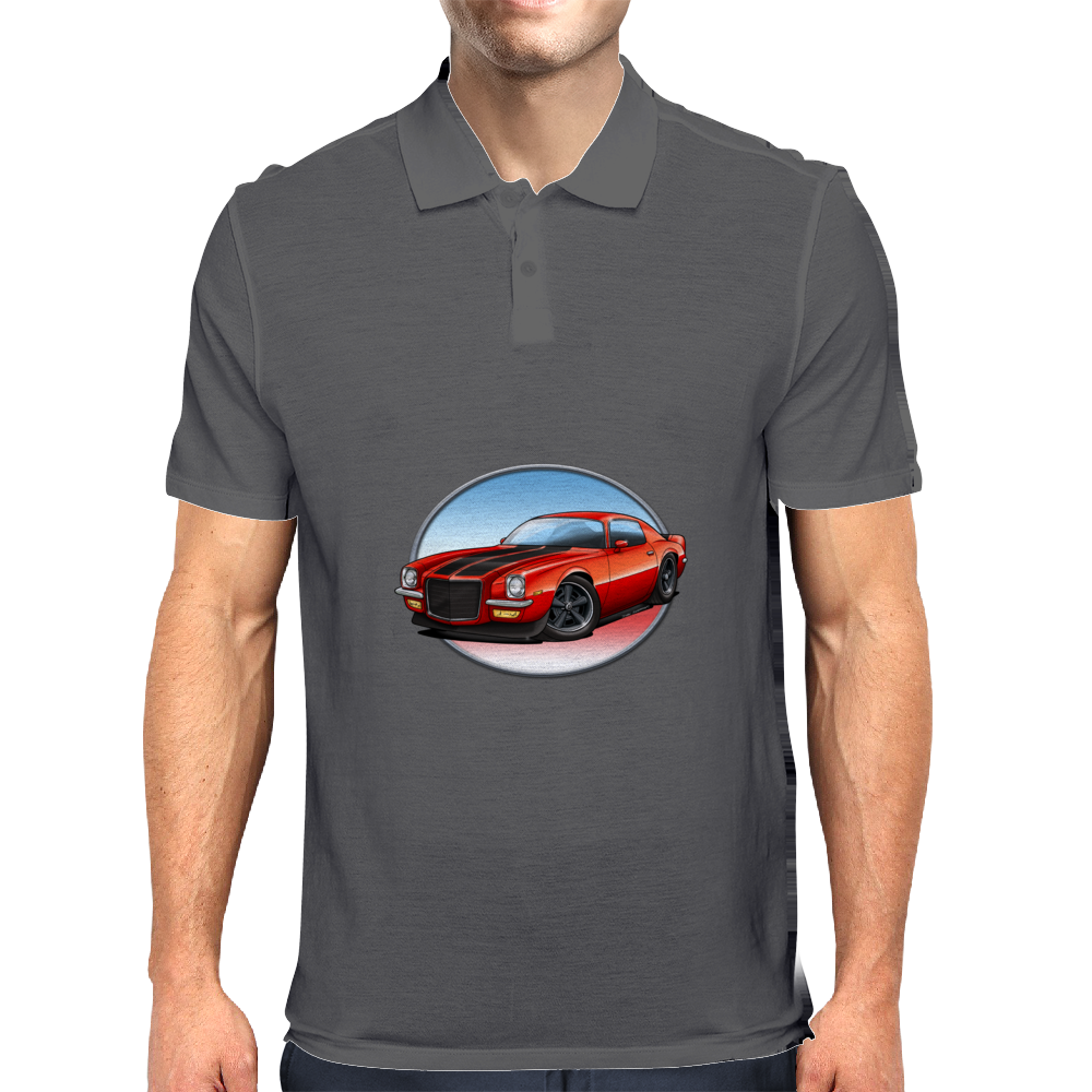 1970s Red Chevy Camaro Z28 SS RB Mens Polo