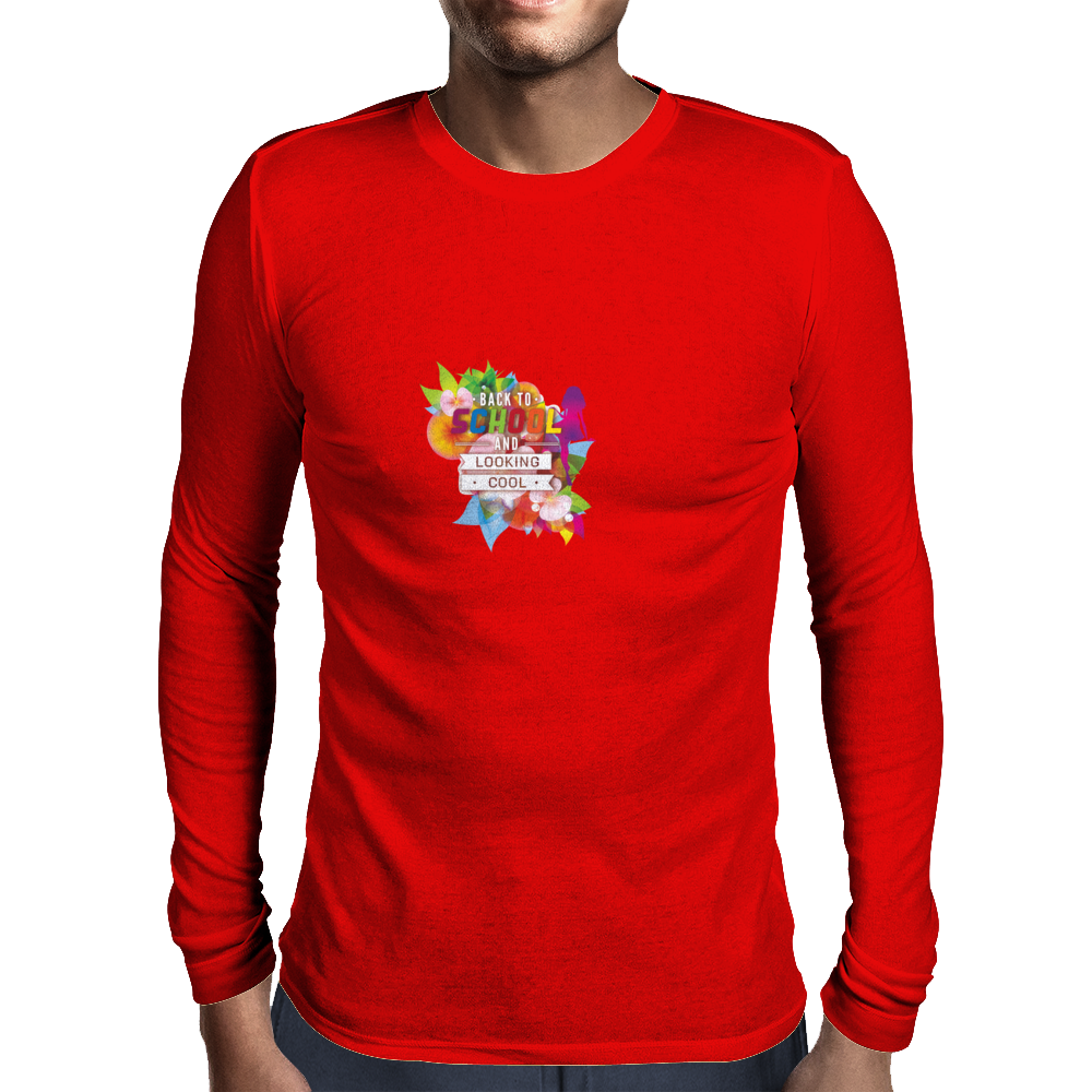 Back to school, looking cool, girly flowers, butterfly Mens Long Sleeve T-Shirt