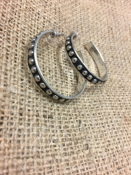 Silver Stud Hoop Earrings