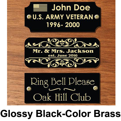Glossy Black-Color Brass Name Plate