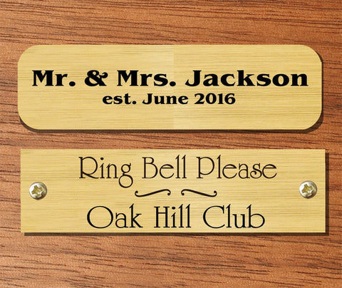 "0.5"" H x 3.5"" W, Satin Brass Name Plate - enmengraving"