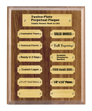 "8""x10"" 12 Plate Perpetual Plaque, Solid Walnut, Solid Satin Brass Plates, Custom Engraved - enmengraving"
