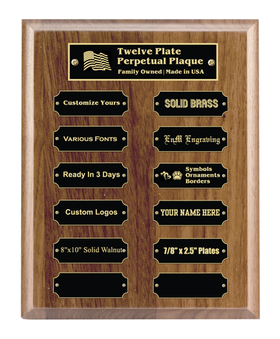 "8""x10"" 12 Plate Perpetual Plaque, Solid Walnut, Solid Black Color Brass Plates, Custom Engraved - enmengraving"