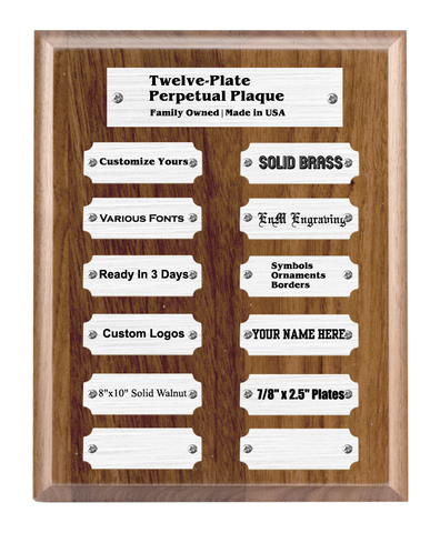 "8""x10"" 12 Plate Perpetual Plaque, Solid Walnut, Solid Silver Color Plates, Custom Engraved - enmengraving"