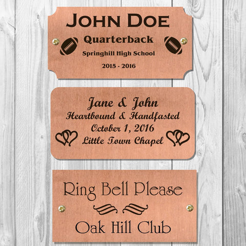 Satin Copper, Rectangular Shape, Custom Engraved Plates - enmengraving