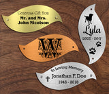 "Tree of Life Nameplate Leaves, Donor Recognition Walls, Perpetual Plaque, Fundraiser, Personalized Custom Engraved Label Art Tag for Frames, Made to Order, Made in USA, 2-1/16"" x 4-3/4"" - enmengraving"