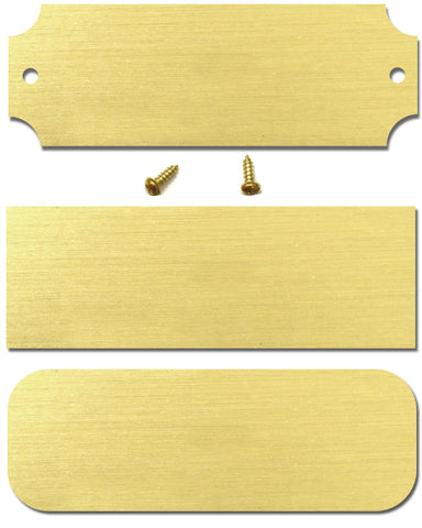 "1"" H x 3"" W, Satin Brass Blank Perpetual Plate, Rectangular, Rounded or Notched Corners, 10, 20, 50 or 100 Quantity Pack - enmengraving"
