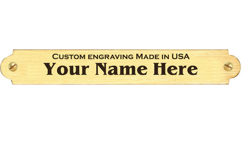 "0.375"" H x 2.5"" W, Satin Gold Brass Name Plate, with Decorative Ends - enmengraving"