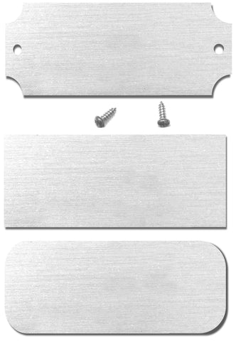 "1.25"" H x 3"" W, Satin Nickel Silver Pre-Lacquered Blank Name Plate, Rectangular, Rounded or Notched Corners, 10, 20, 50 or 100 Quantity Pack - enmengraving"