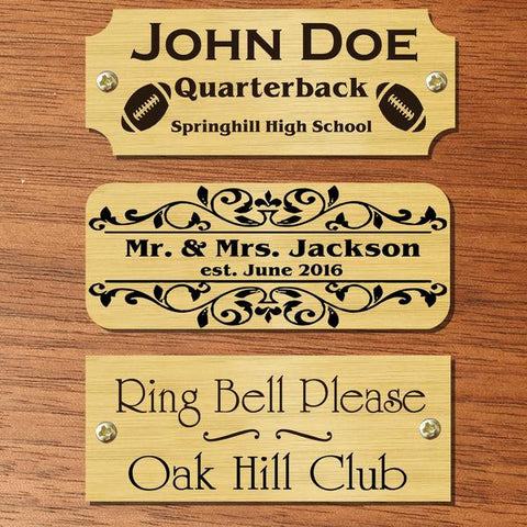 "1.25"" H x 4.5"" W, Satin Brass Name Plate - enmengraving"