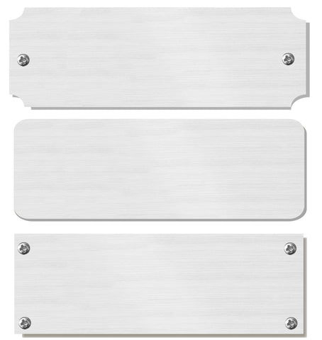 "2"" H x 8"" W, Satin Nickel Silver Pre-Lacquered Blank Name Plate, Rectangular, Rounded or Notched Corners, 1, 5, 10 or 20 Quantity Pack - enmengraving"