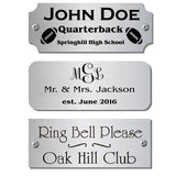 "1"" H x 2.5"" W, Satin Nickel Silver Name Plate - enmengraving"