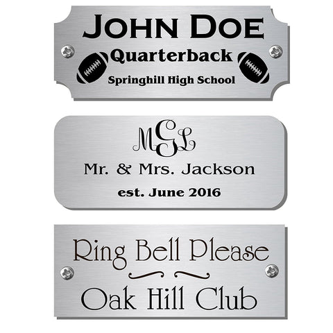 "1"" H x 5"" W, Satin Nickel Silver Name Plate - enmengraving"