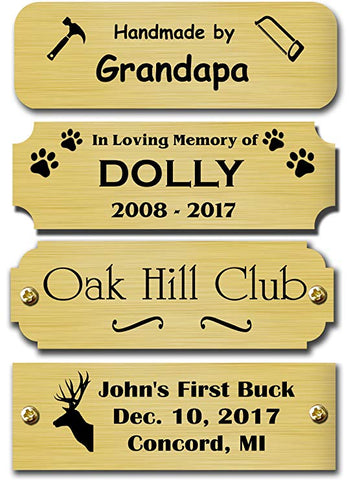 "1"" H x 2"" W, Satin Brass Name Plate - enmengraving"