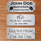 "1.25"" H x 5"" W, Satin Nickel Silver Name Plate - enmengraving"