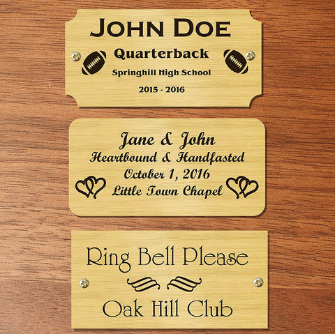 "0.75"" H x 4.5"" W, Satin Brass Name Plate - enmengraving"