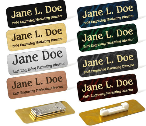 Rectangular Custom Engraved Brass Name Badge - enmengraving