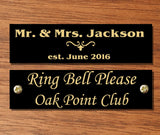 "Glossy Black Brass Name Plate, 0.5"" H x 2"" to 4"" W, Custom Engraved - enmengraving"