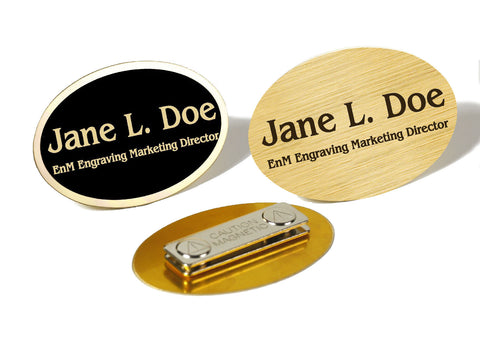 Oval Brass Name Badge, Magnetic Closure - enmengraving