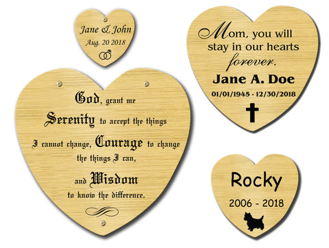 Satin Brass Heart Shape Nameplate