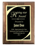 "6""x8"" Award Plaque, Solid Walnut, Solid Black Color Brass Plates, Custom Engraved - enmengraving"